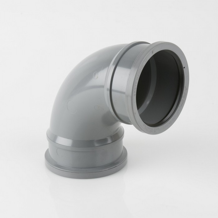 110mm Industrial Downpipe Bend 90 Degree Double Socket Grey