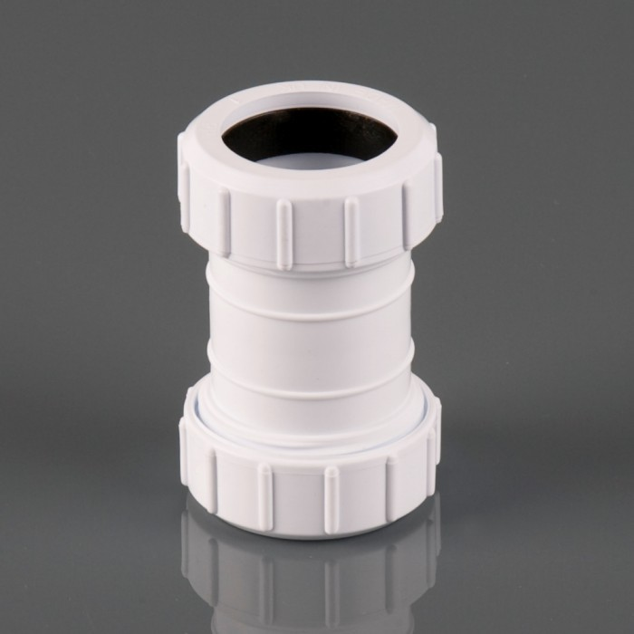 32mm Push Fit Waste Pipe Multifit Coupler White