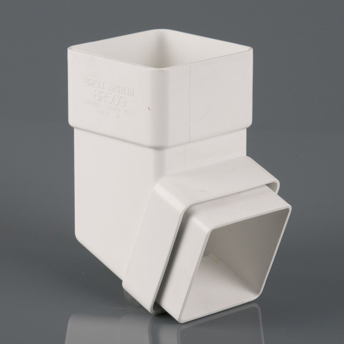 65mm Square Downpipe Offset Bend 112.5 Degrees White