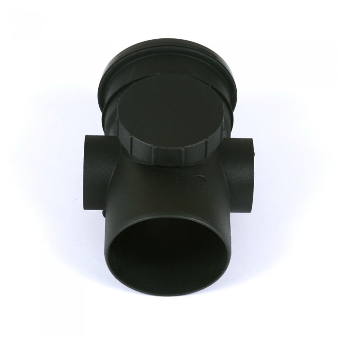 110mm Cast Iron Style Push Fit Soil Pipe Single Socket 90 Degree Branch with Bosses Heritage Black