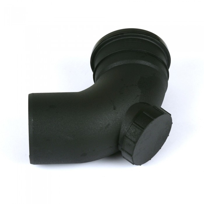 110mm Cast Iron Style Push Fit Soil Pipe Single Socket 90 Degree Access Bend Heritage Black