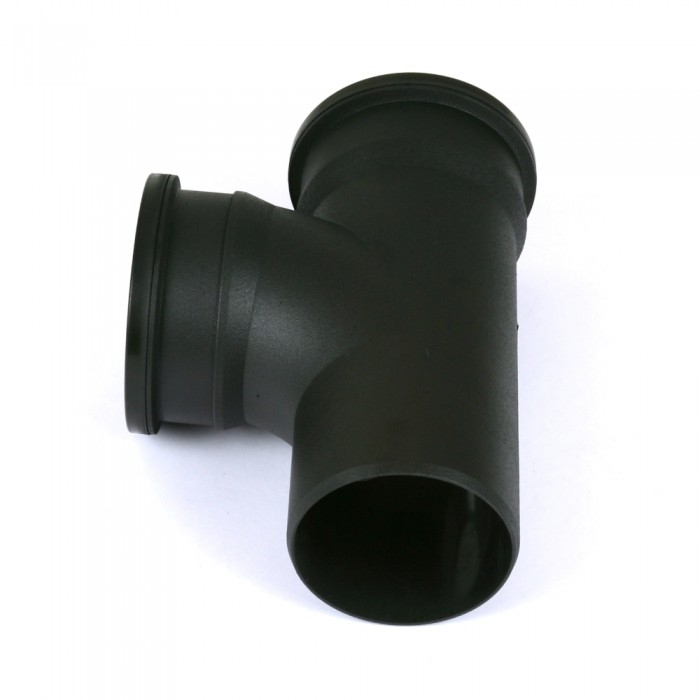 110mm Cast Iron Style Push Fit Soil Pipe Double Socket 92.5 Degree Branch Heritage Black