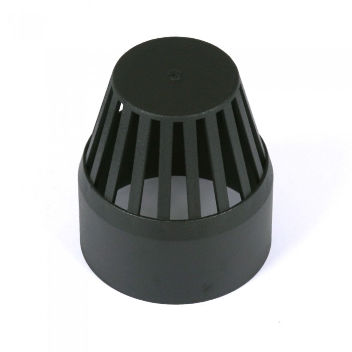 110mm Cast Iron Style Push Fit Soil Pipe Vent Cowl Heritage Black