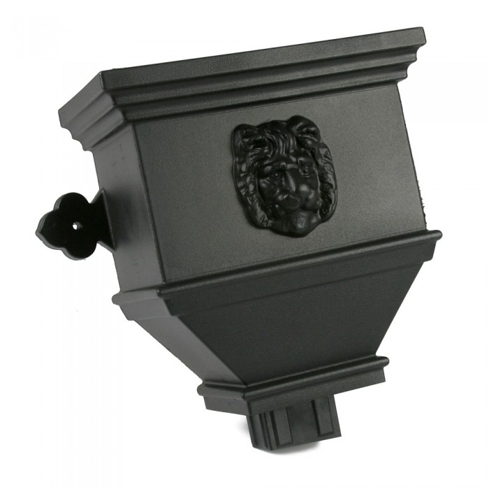 100mm x 75mm Plastict Cast Iron Style Rectangular Downpipe Bath Hopper Head with Lion