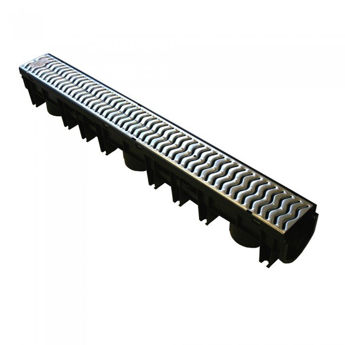 Channel Drain with Galvanised Steel Grating x 1m