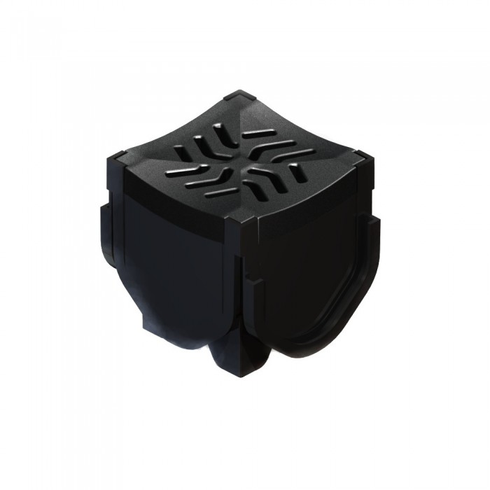 Channel Drainage Corner Unit with Black Plastic Grating