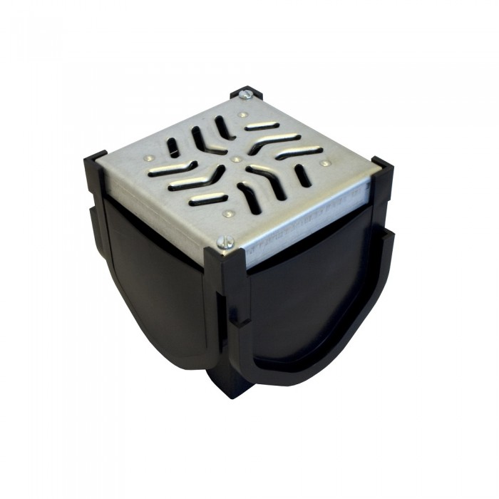 Channel Drainage Corner Unit with Black Galvanised Grating