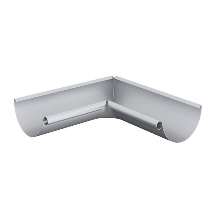 Lindab 125mm Steel Half Round Gutter Internal Angle 90 Degrees Silver Metallic