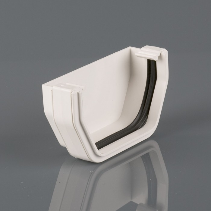 114mm Square Plastic Gutter External Stopend White